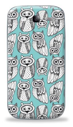 Наклейка на Galaxy S3 (i9300) - Черно-белые рисованые совы