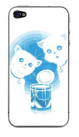 Наклейка на iPhone 4S, 4 - ДВА КОТЁНКА И СГУЩЁНКА