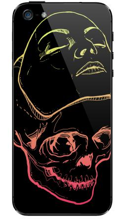 Наклейки для iPhone 5 Маска и череп