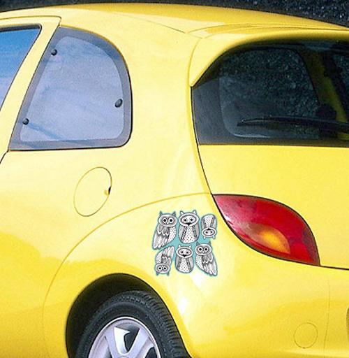 Черно-белые рисованые совы  - наклейки на авто