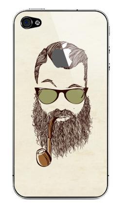 Наклейка на iPhone 4S, 4 (с яблоком) - Верьте мне, у меня есть борода