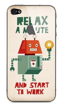Наклейка на iPhone 4S, 4 (с яблоком) - Расслабься