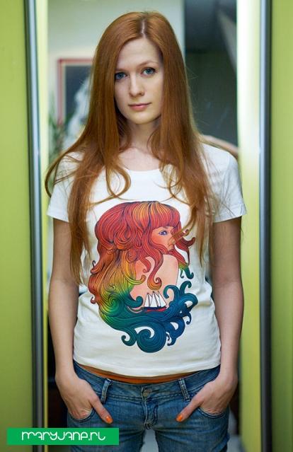 Girl & sea - фото футболки