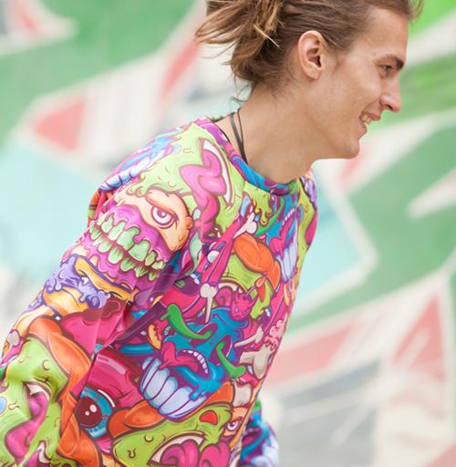 Свитшот мужской 3D v2 - Кактус с цветами