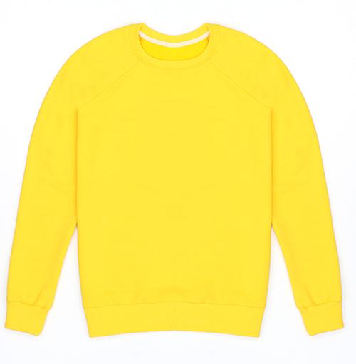 Cвитшот женский, желтый 240гр, тонкий - Уютный новогодний пес