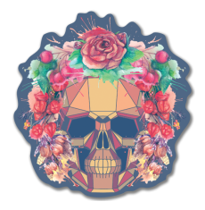 Polygonal human skull and watercolor wreath.Los muertos.  - Наклейки на машину — черепа