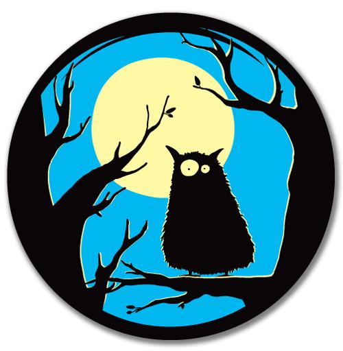 Виниловые наклейки на авто, Owl, izya, лес, луна, ночь, сова