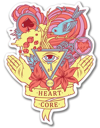 Наклейка на Телефон Apple iPhone 4S, 4 Heart core,  купить в Москве – интернет-магазин Allskins, татуировки, цветы, любовь, руки, глаз, птицы, святое, для влюбленных