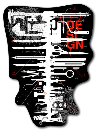 Наклейка на Телефон Apple iPhone 4S, 4 D-Carcass,  купить в Москве – интернет-магазин Allskins, дизайнер, художник, иллюстраторы, череп, инструменты