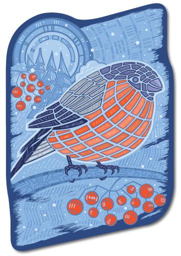 Наклейка на Телефон Apple iPhone 6 plus Снегирь,  купить в Москве – интернет-магазин Allskins, птицы, зима, абстрактные, снегирь, новый год