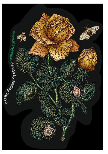 Наклейка на iPod&MP3 Apple iPod Classic Fantastic flower,  купить в Москве – интернет-магазин Allskins, зеленый, желтый, Цветочек, цвет, цветы, фантазия, фантастика, иллюстация