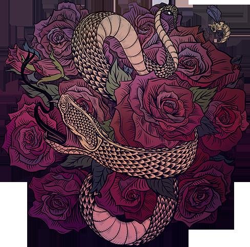 Наклейка на iPod&MP3 Apple iPod Classic Змеевич,  купить в Москве – интернет-магазин Allskins, змея, олдскулл, розы, цветы, мужские, готика