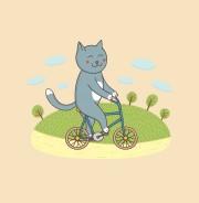 Котик на велосипеде - футболки на заказ
