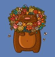 Медведь в цветах - футболки на заказ