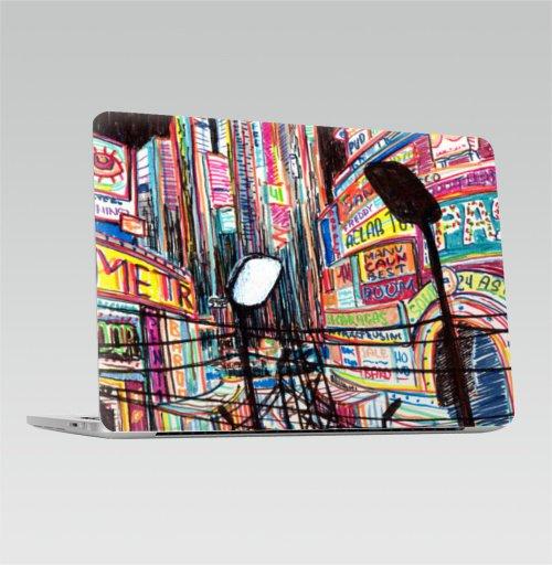 Наклейка на Ноутбук Apple Macbook Pro с Touch Bar Ночная жизнь,  купить в Москве – интернет-магазин Allskins, Америка, ночь, Vegas, лас, NY, вывеска, город, жизнь, ночная