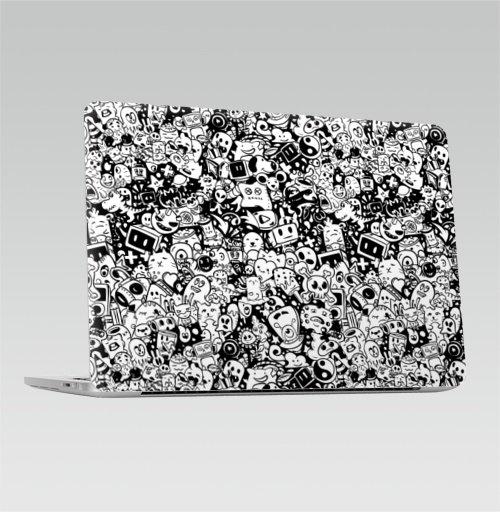 Наклейка на Ноутбук Macbook Pro 2016-2018 – Macbook Pro Touch Bar Дудлы ,  купить в Москве – интернет-магазин Allskins, монстры, паттерн, текстура, черно-белое, белый, черный, комиксы, иллюстация, дудлы