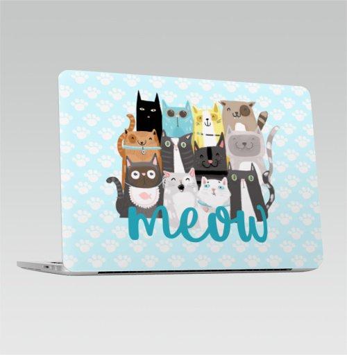 Наклейка на Ноутбук Apple Macbook Pro с Touch Bar Многокотов,  купить в Москве – интернет-магазин Allskins, кошка, запечатка, весна, яркий, веселый
