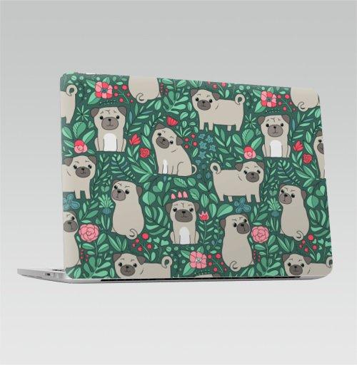 Наклейка на Ноутбук Apple Macbook Pro с Touch Bar Мопс - ,  купить в Москве – интернет-магазин Allskins, растение, природа, графика, Мопс, собаки, цветы