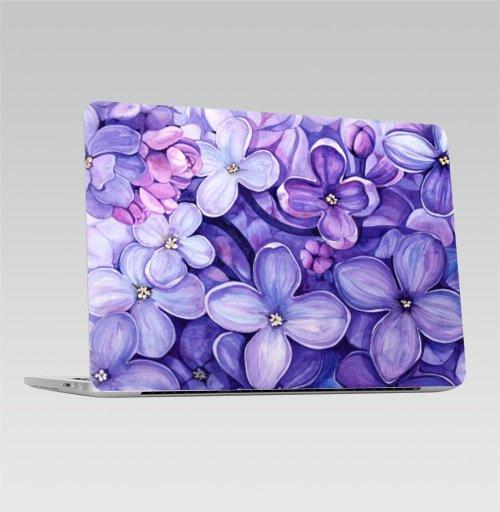 Наклейка на Ноутбук Apple Macbook Pro с Touch Bar Акварельная Сирень,  купить в Москве – интернет-магазин Allskins, сиреневый, сирень, сиренево, сиреневая, цветы, lilac, фиолетовый, цветущая