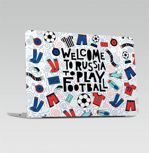 Наклейка на Ноутбук Apple Macbook Pro с Touch Bar Добро пожаловать в Россию. Футбол,  купить в Москве – интернет-магазин Allskins, футбол, шорты, Чемпионат