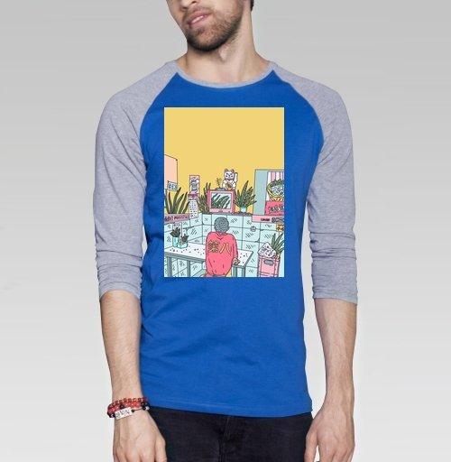 Азиатская закусочная, Theeighth, Футболка мужская с длинным рукавом синий / серый меланж