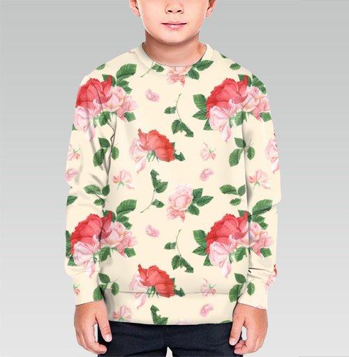 Розовые розы на кремовом фоне, T-Push, Cвитшот детский без капюшона (полная запечатка)