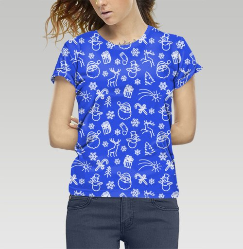 Футболка —  Синий новогодний паттерн от DogoD | maryjane.ru - дизайнерские футболки