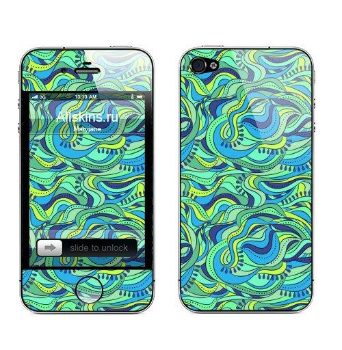 Наклейка на Телефон Apple iPhone 4S, 4 Абстрактные волны,  купить в Москве – интернет-магазин Allskins, абстракция, волны, синий, зеленый, морская, тематика, графика, унисекс