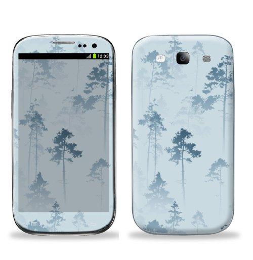 Наклейка на Телефон Samsung Galaxy S3 (i9300) Лес. Туман,  купить в Москве – интернет-магазин Allskins, лес, деревья, сосны, туман, птицы, природа, пейзаж, небо, полёт