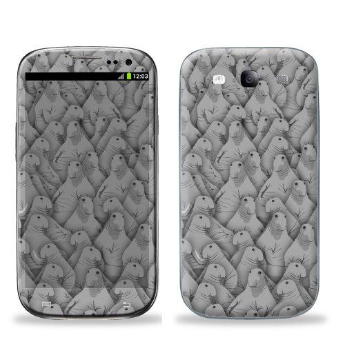 Наклейка на Телефон Samsung Galaxy S3 (i9300) Ждуны,  купить в Москве – интернет-магазин Allskins, Ждунб, мем, прикол, ожидание, толпа, серый, ждать