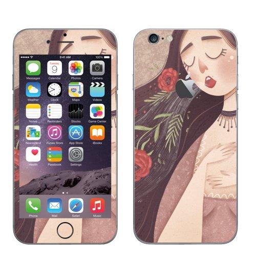 Наклейка на Телефон Apple iPhone 6 с яблоком Поющая,  купить в Москве – интернет-магазин Allskins, мечта, мило, лето, весна, детские, сердечки, девушка, девочке, секрет, магия