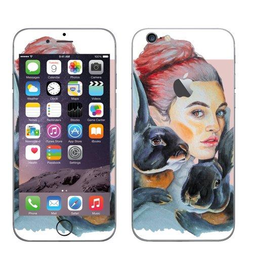 Наклейка на Телефон Apple iPhone 6 с яблоком Тотем кролики,  купить в Москве – интернет-магазин Allskins, девушка, акварель, глаз, Тотемы, кролики, розовый, хитрый, животные
