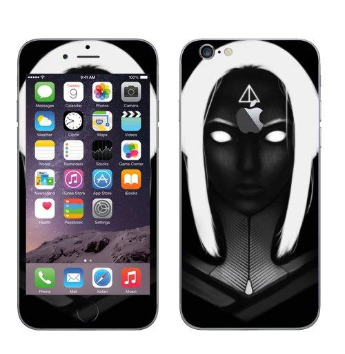 Наклейка на Телефон Apple iPhone 6 с яблоком Портерт Белый свет,  купить в Москве – интернет-магазин Allskins, портреты, черный, черныйфон, белый, Темная, глаз, девушка, рисунки, рисовать, иллюстация