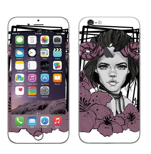 Наклейка на Телефон Apple iPhone 6 с яблоком Девушка рога цветы,  купить в Москве – интернет-магазин Allskins, рогатый, девушка, мистика, цветы, графика, графические, красота, портреты, черный