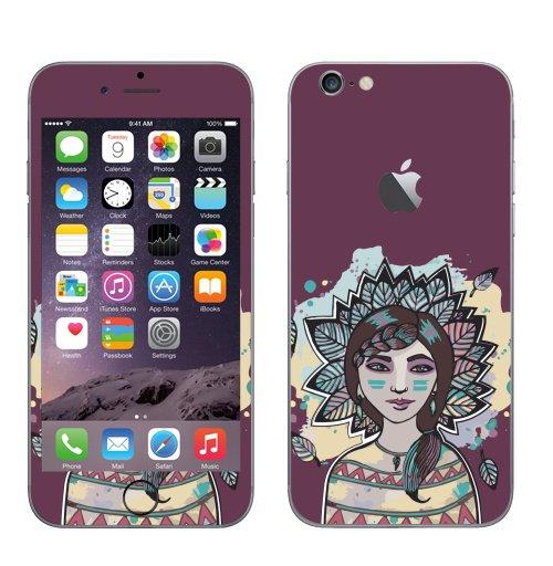 Наклейка на Телефон Apple iPhone 6 с яблоком Пёстрый лист,  купить в Москве – интернет-магазин Allskins, девушка, персонажи