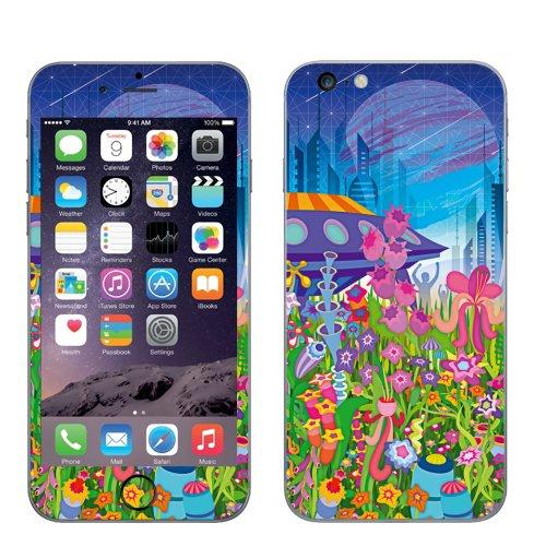 Наклейка на Телефон Apple iPhone 6 plus Тайна пятой планеты,  купить в Москве – интернет-магазин Allskins, психоделика, будущее, футуризм, цветы, космос, инопланетяне, небо, звезда, музыка