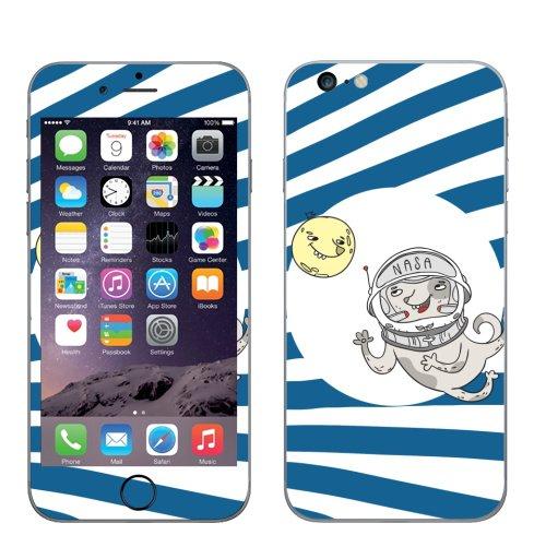 Наклейка на Телефон Apple iPhone 6 plus Полетели со мной,  купить в Москве – интернет-магазин Allskins, собаки, луна, космос, космос
