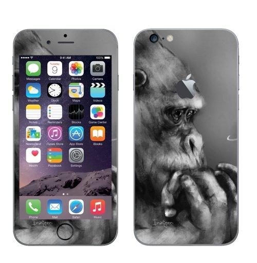 Наклейка на Телефон Apple iPhone 6 plus с яблоком Горилла,  купить в Москве – интернет-магазин Allskins, обезьяна, животные, космос