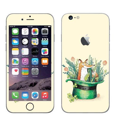 Наклейка на Телефон Apple iPhone 6 plus с яблоком Ирландский лис,  купить в Москве – интернет-магазин Allskins, лиса, Ирландия, клевер, шляпа
