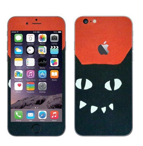 Наклейка на Телефон Apple iPhone 6 plus с яблоком Черный кот на красном.,  купить в Москве – интернет-магазин Allskins, кошка, животные, Красночерный, черный, черныйкот, красный, Глазищи, зубастый