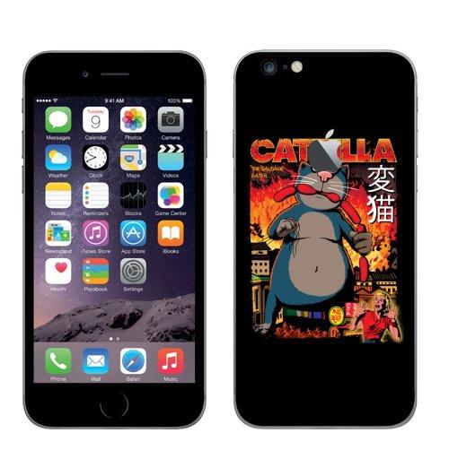 Наклейка на Телефон Apple iPhone 6 plus с яблоком КОТЗИЛЛА,  купить в Москве – интернет-магазин Allskins, годзилла, кино, персонажи, котята, кошка, ужасный, пародия, прикол, приключения