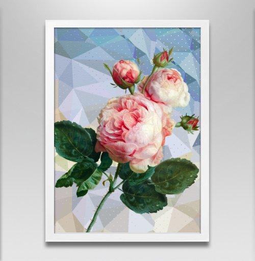 Фотография футболки Розовая роза на геометрическом фоне