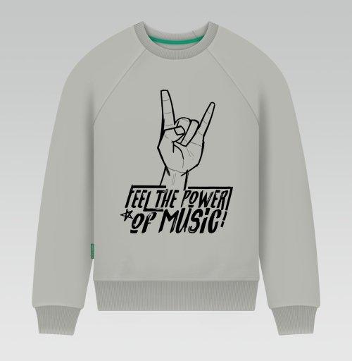 Свитшот мужской серый - Feel the power of music