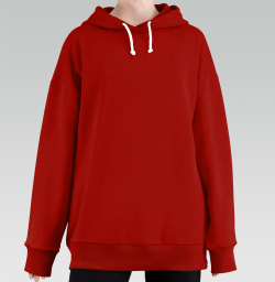 Hoodie Long Oversize Red